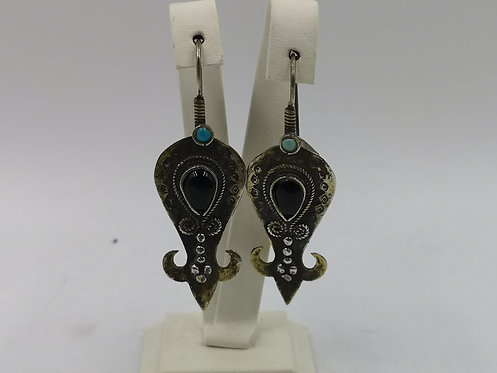 Silver onyx turquoise Afghan earrings