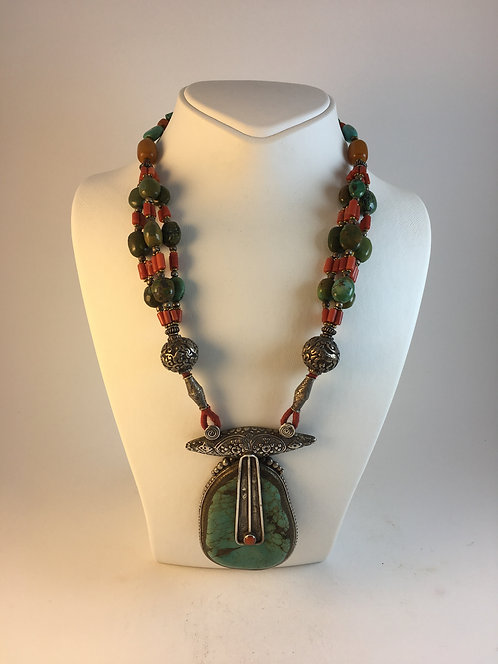 Tibetan Turquoise Coral Silver Necklace from Nepal