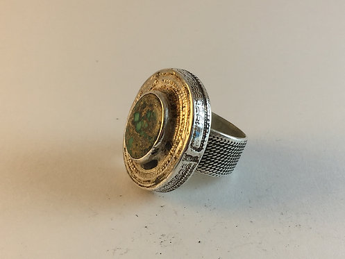 Afghan Kazakh Meshed Turquoise Silver Ring