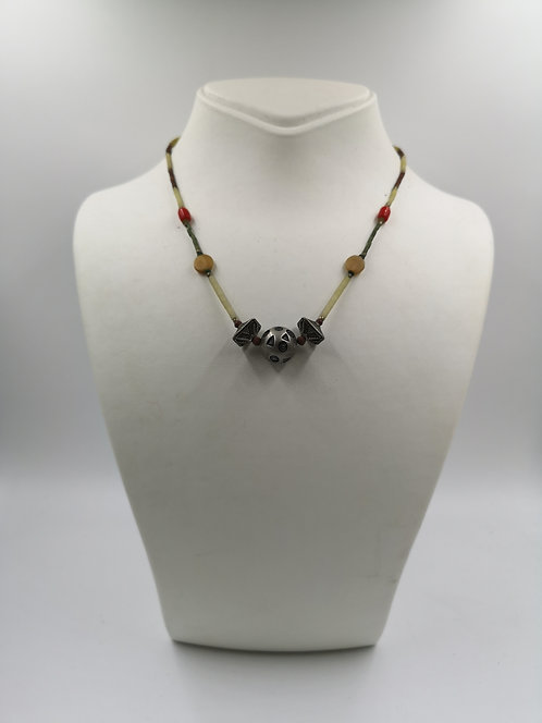 Afghan jade silver mikro stone necklace