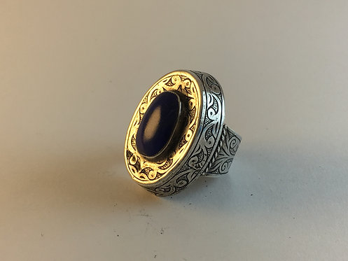 Afghan Lapis Hand Edged Silver Ring