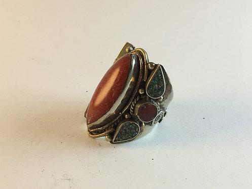 Tibetan Coral Turquoise Alpaka Silver Ring