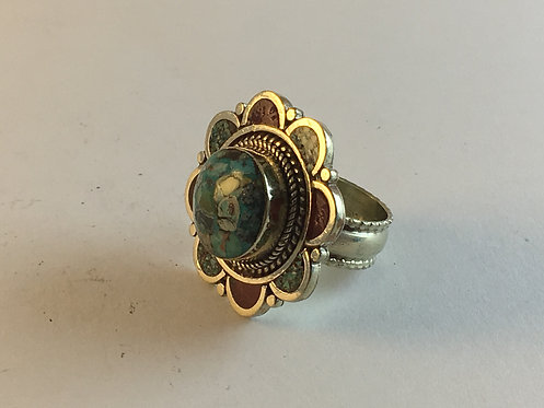 Tibetan Alpaka Silver Coral Turquoise Ring