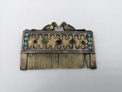 Afghan silver gold Ruby Emerald Comb