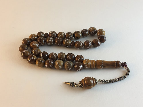 Silver Inlaid Round Form Coca Wood Prayer Bead