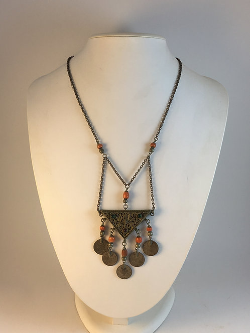 1870s Ottoman Silver Amulet Case Necklace