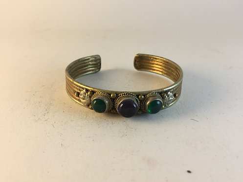 Green and Red Agate Brass Copper Bracelet