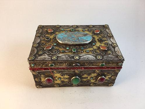 Afghan Kazakh Silver Wood Box