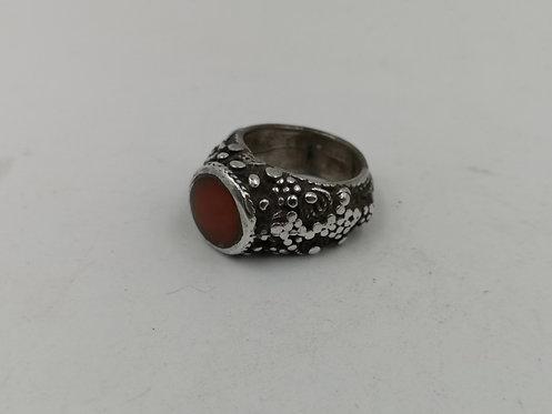 Afghan granule silver agate ring