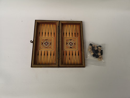 Mini Marquetry mother of pearl backgammon