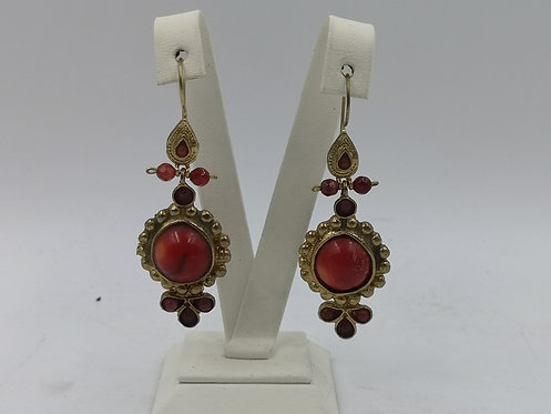 Colored Coral Ruby 24k gold plated Bronze Earrings