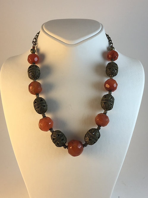 Faceted Agate Turkish Silver Old Necklace