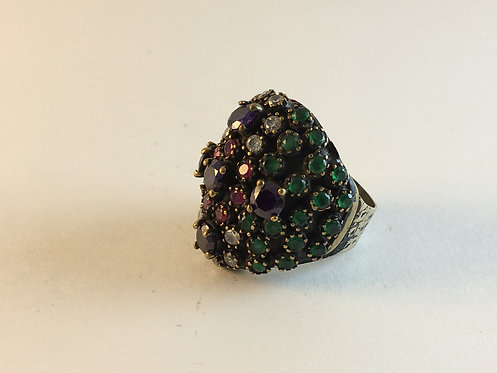 Turkish Silver Ring with Emerald Ruby Safir Amethist
