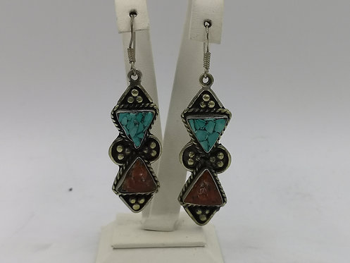 Turquoise Coral silver Afghan earrings