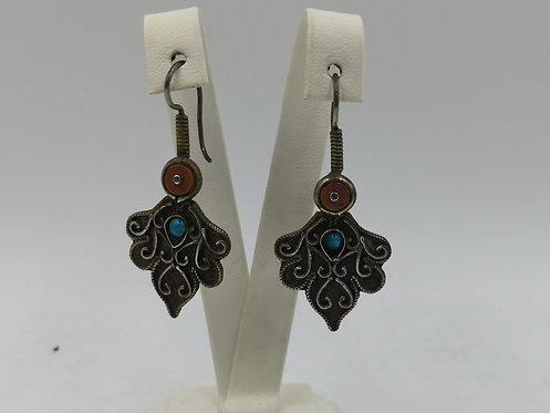 Uzbek silver coral earrings
