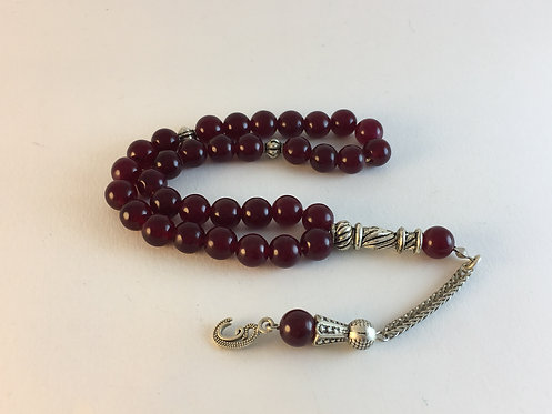 Deep Dark Red Agate Prayer Bead