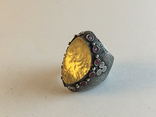 Turkish Silver Hammered Gold and Ruby Ring