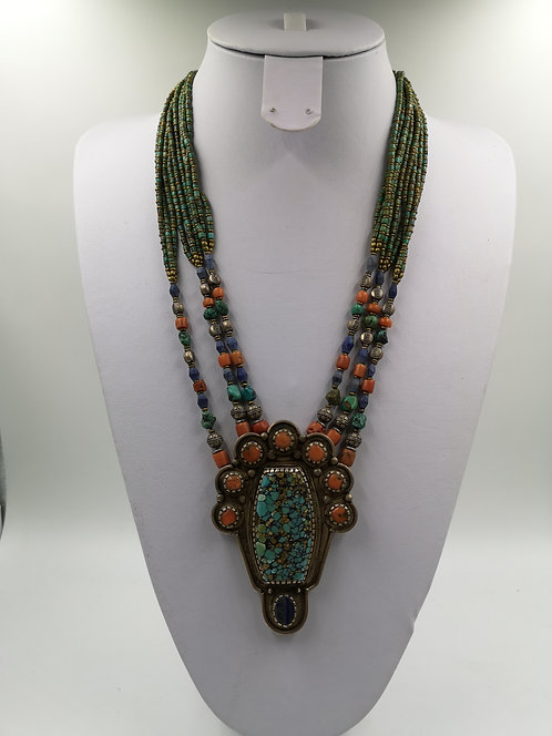Tibetan Nepalese turquoise Coral silver Necklace