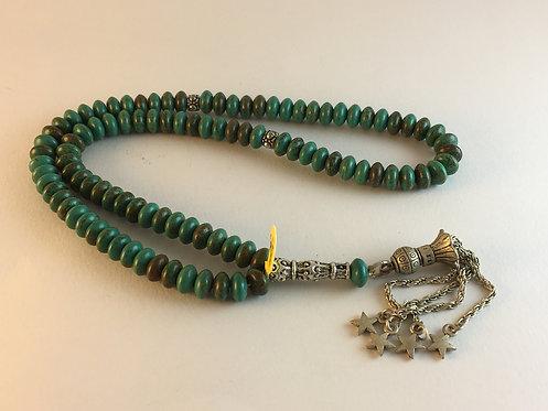Lentil Cut Afghan Turquoise 99 Prayer Bead