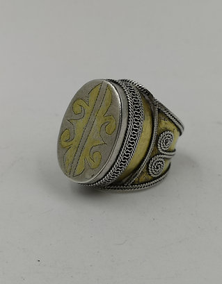 Turcoman silver gold ring