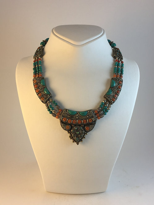 Tibetan Silver Turquoise Coral Necklace from Nepal