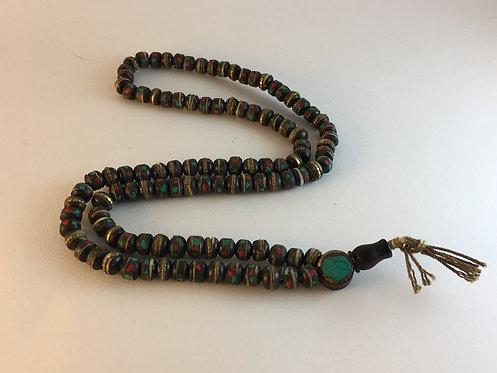 Budhist Mala Turquoise Coral Brass Inlaid Prayer Bead