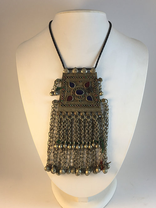 Afghan Kutchi Tribal Alpaka Silver Pendant Necklace