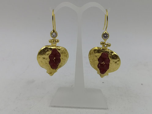 24k gold plated Bronze pomegranate Earrings