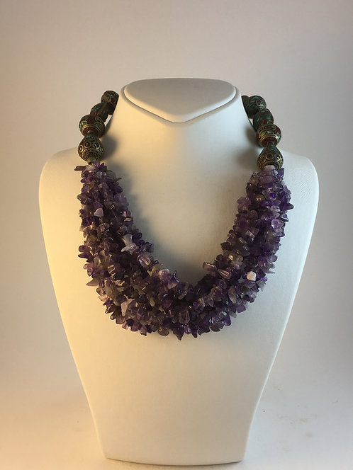 Amethist Silver Tibetan Beaded Necklace