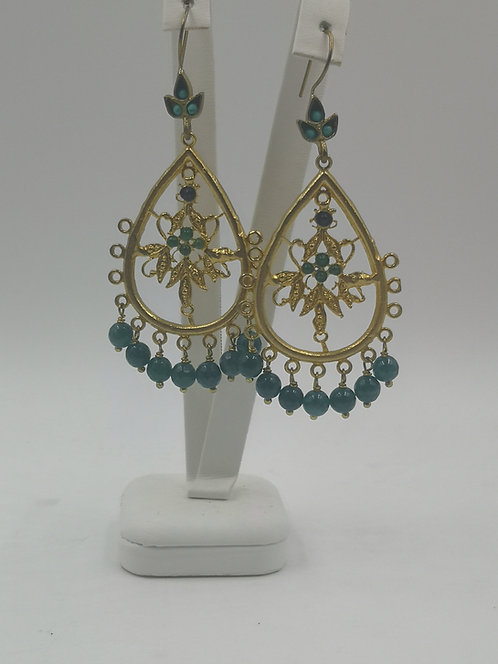 Gold plated Bronze Earrings green agate