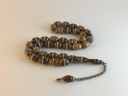 Turquoise Ivory Band Inlaid Light Coca Wood Prayer Bead