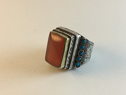 Turcoman Silver Ring Agate and Turquoise Gold Gilded