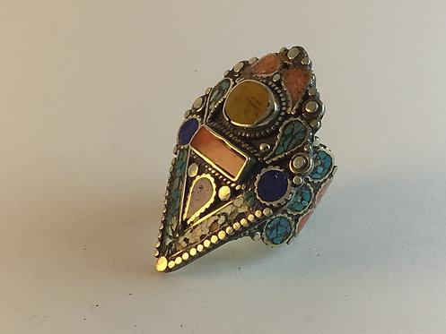 Tibetan Alpaka Silver Coral Turquoise Mosaic Ring