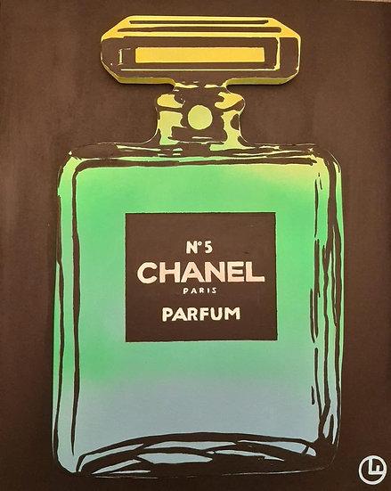 Chanel Bottle (Yellow/Green ) 40 x 50 cm - Acryl on Wood