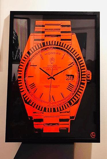Funky Orange Rolex By Olivier Ameye - 64 x 89 cm
