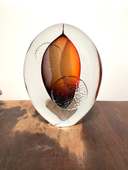 Art Glass - Orange Leaf
