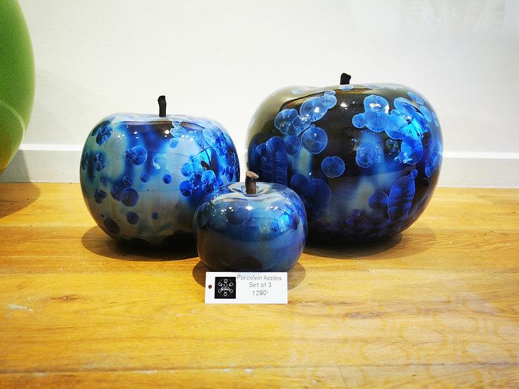 Porcelein Apples Set of 3 Blue