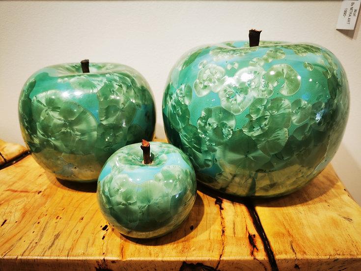 Porcelein Apples Set of 3 - Bleu