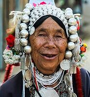 elderly woman wearing traditional headdress