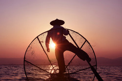 Sunset rowing