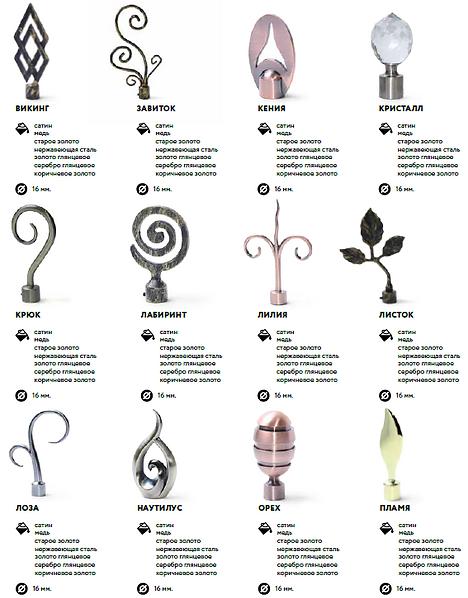 наконечники для кованых карнизов, кованные карнизы, наконечники для металлических карнизов, карнизы магеллан