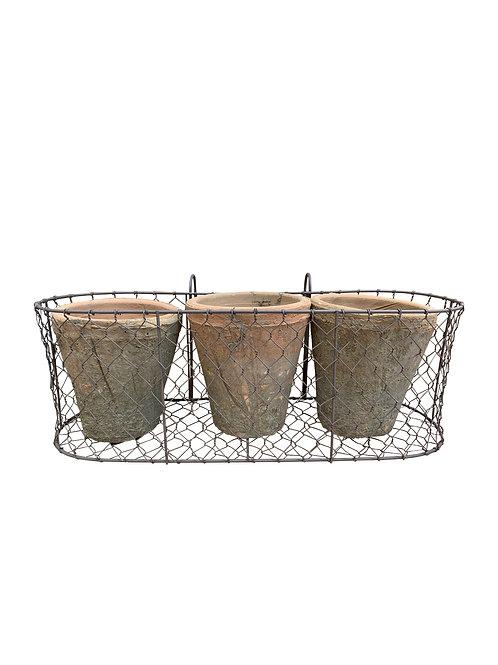 Wire Basket w/ 3 Antiqued Pots