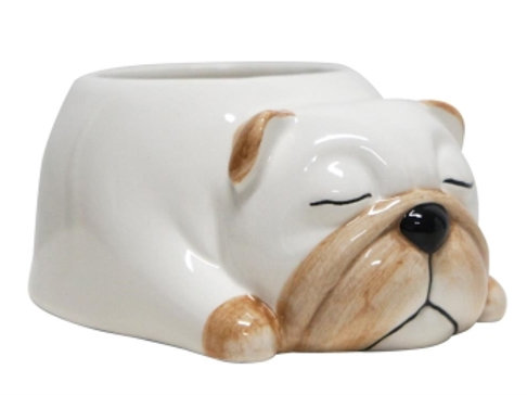 Sleepy Dog Ceramic Planter