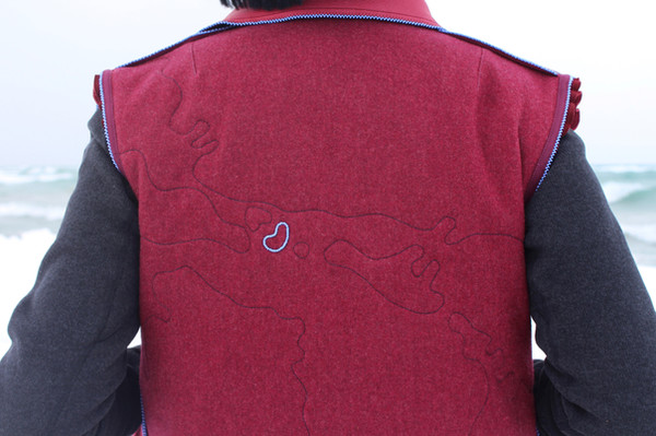 our bodies are stitched with 193 years of diasporic love (back detail of beaded Drummond Island), 2021.