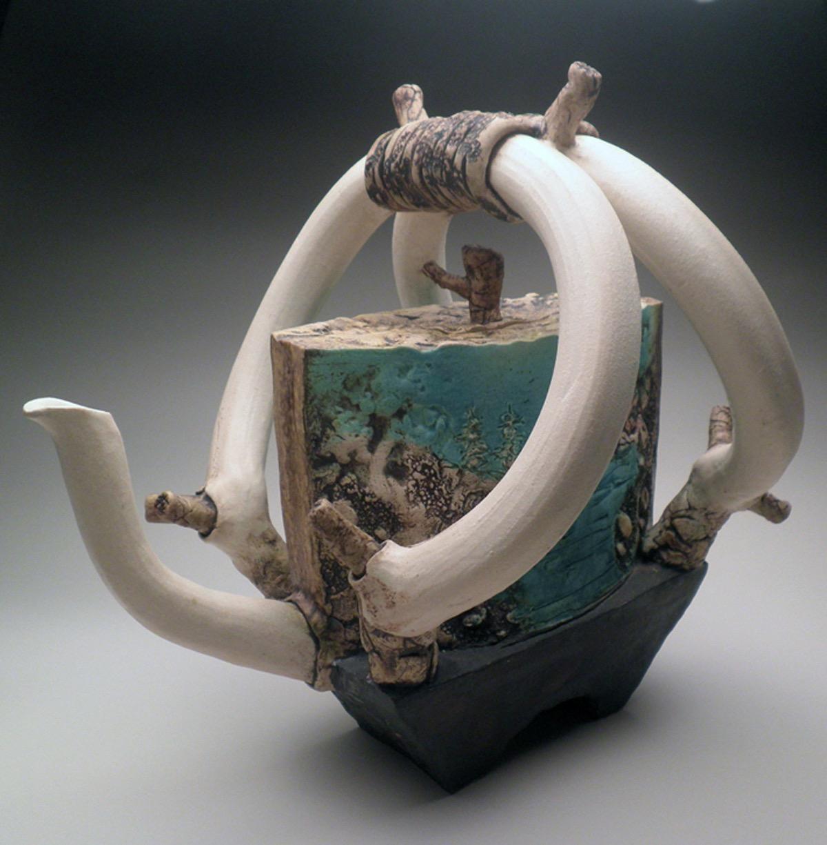 "#5. _Serenity Teapot,_ White Stoneware, 15.5"" x 12"" x 12,"" oxidation, cone 6 and 06, 2010"