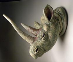 #12. _Save the Rhino,_ White Stoneware, 23_ x 23_ x 23,_Cone 6 oxidation, 2015