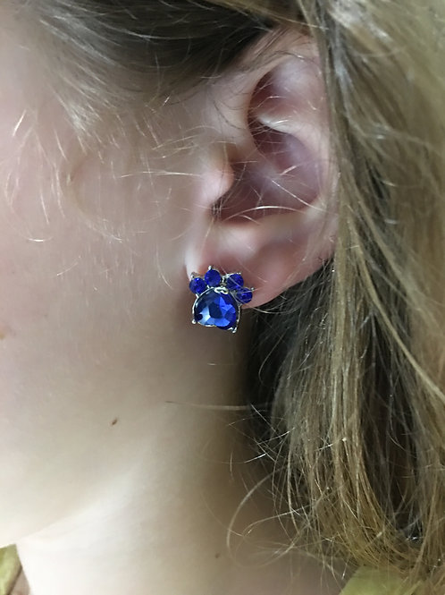 Rhinestone Blue Paw Earrings