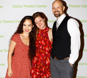 """Tia Laulusa, Ana Hagedorn and Luke Longacre at the opening of """"Inherit the Wind"""" at DTC"""