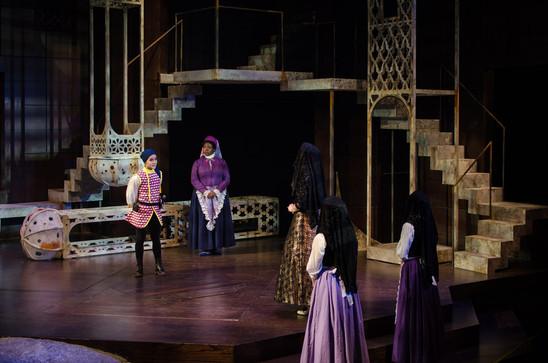 "Tia Laulusa, Chris Sanders and Lindsay Ryan in ""Twelfth Night"""