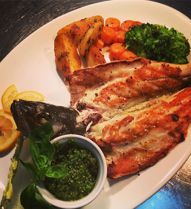 Fresh #wildseabass #grilled with vegetab